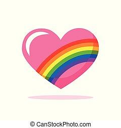 pink valentine heart with rainbow