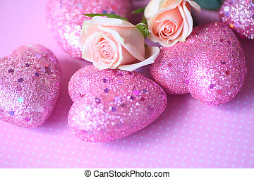 Pink Valentine hearts with roses