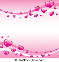 Pink Valentines Background with lots of hearts, vector...