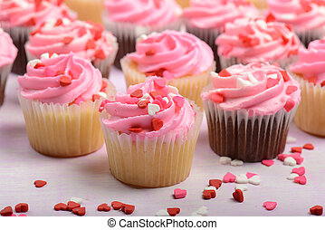 Pink Valentines Day Cupcakes