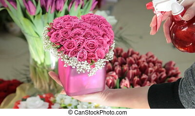 Pink Valentines Day Rose Heart