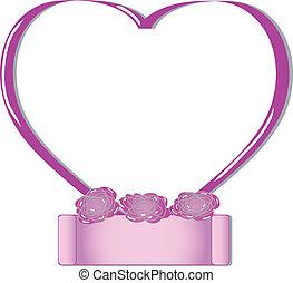 Pink valentines heart frame