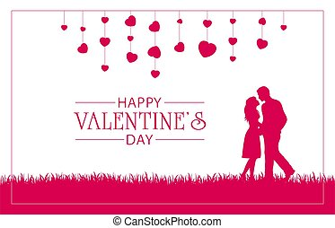 Pink silhouettes of happy couple and hearts. Lettering Happy Valentine's Day. Valentines illustration with man and woman can be used for holiday design, posters, cards, websites, banners.