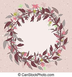 Pink vector background with a round floral frame in the form of a wreath.