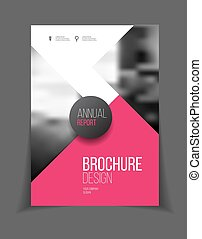 Pink vector business brochure or annual report template vector, Leaflet cover presentation with abstract geometric elements, layout in A4 size