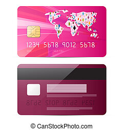 Pink Vector Credit Card Illustration Isolated on White Background
