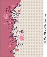 Pink vector flowers border with little squares in the...