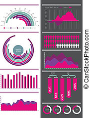 Pink vector infographic set.