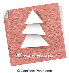 Pink vector postcard with paper christmas tree