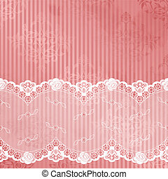 Pink vector with white lace - White French lace design on...