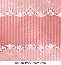 White French lace design on pink background. Graphics are grouped and in several layers for easy editing. The file can be scaled to any size.