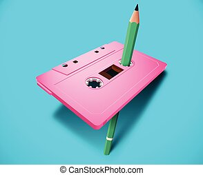 Pink vibrant compact cassette 80s styled with music or data tape and green pencil for manual rewind. Memphis styled colorful design
