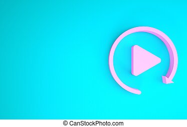 Pink Video play button like simple replay icon isolated on blue background. Minimalism concept. 3d illustration 3D render