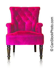 Pink vintage armchair isolated on white clipping path.
