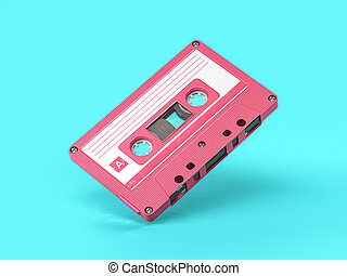 Pink vintage audio cassette on blue background.