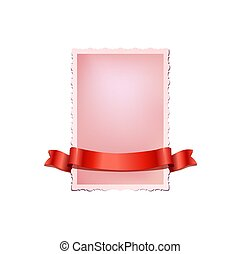 Pink vintage card with red ribbon isolated on white background. Vector newborn card template.
