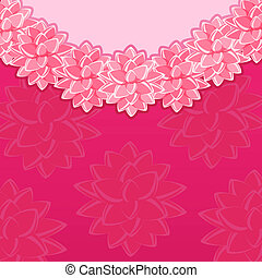 Pink Vintage Card with Round Fantasy Flowers