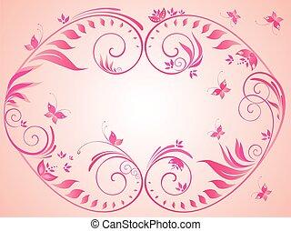 Pink vintage floral frame
