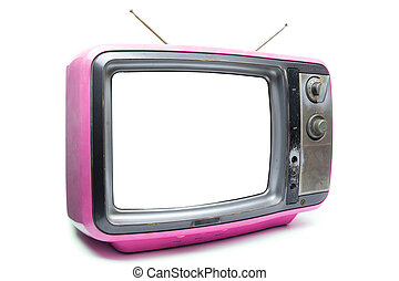 Pink Vintage TV on white background