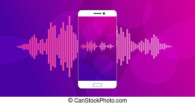 Pink violet Sound waves on screen of a smartphone