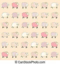 pink wallpaper with baby lambs