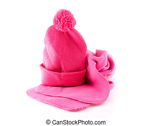 Pink warm winter hat with scarf