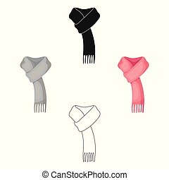Pink warm wool scarf in ropes.Scarves and shawls single icon...