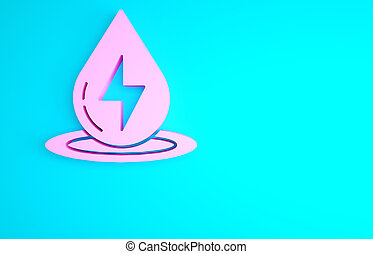 Pink Water energy icon isolated on blue background. Ecology concept with water droplet. Alternative energy concept. Minimalism concept. 3d illustration 3D render