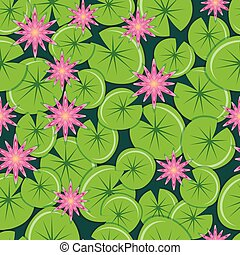 Pink water lilies with leaves. Seamless pattern.