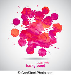 Pink watercolor blots abstract background