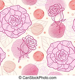 Pink watercolor blots and roses