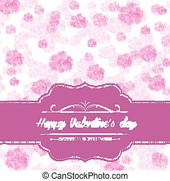 Pink watercolor floral card for valentine's day