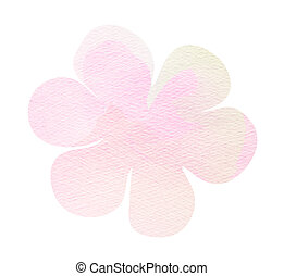 Pink watercolor flower isolated on white background.