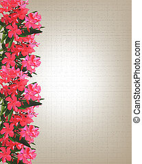 Pink watercolor flowers border