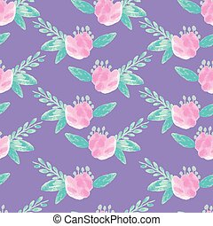 Pink watercolor flowers on purple background seameless repeat.