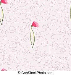 pink watercolor flowers seamless pattern