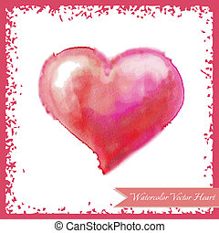 Pink watercolor heart