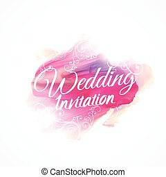 pink watercolor paint stroke for wedding invitation design template with floral decoration