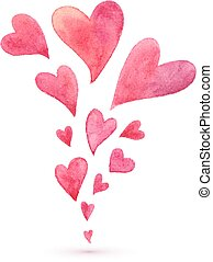 Pink watercolor painted flying hearts spring - Pink...