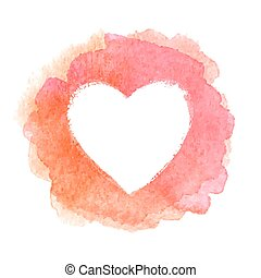 Pink watercolor painted heart shape frame