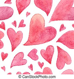 Pink watercolor painted hearts seamless pattern - Pink...