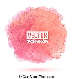 Pink watercolor painted vector stain isolated on white ...