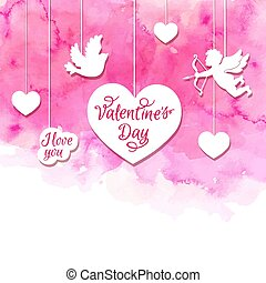 Valentine background with cupid and hearts