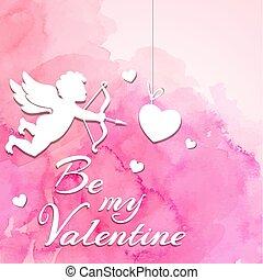 Valentine background with cupid