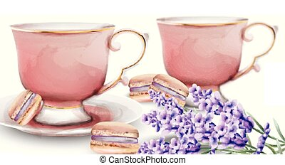 Pink watercolor tea cups with macaroon sweets and lavender. Vector