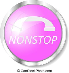 Pink web button - Nonstop support pink button or icon vector...