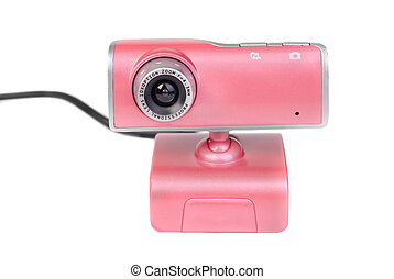 Pink web camera isolated on white background