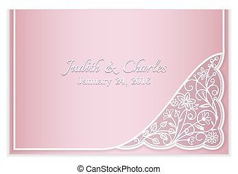 Pink wedding announcement with silver floral lace