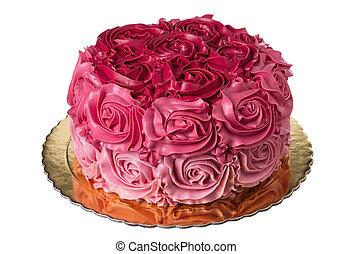 Pink wedding cake .