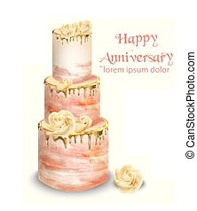 Pink wedding cake with flowers Vector watercolor. Vintage delicious white cake with decorations